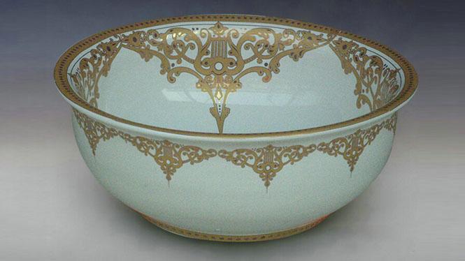 陶瓷艺术台盆洗脸盆台上盆洗手盆白金Y-45