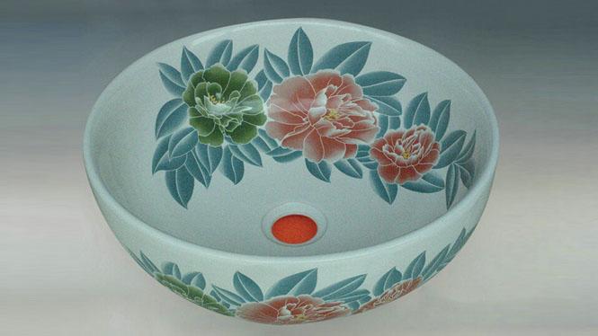 卫生间田园式牡丹陶瓷艺术盆洗脸盆台盆Y-58