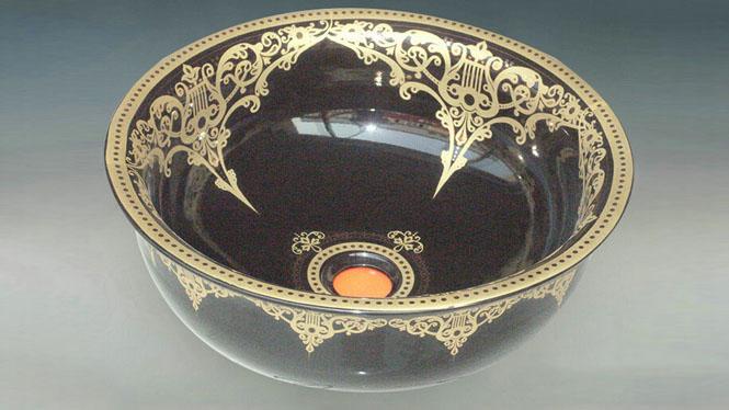 青花瓷艺术台盆洗面盆洗脸盆台上盆-黑爱琴海Y-53