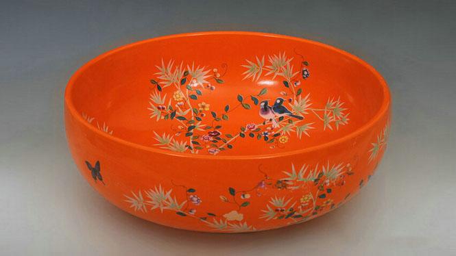陶瓷艺术洗手盆台盆田园式橘红色洗脸盆面盆Y-26