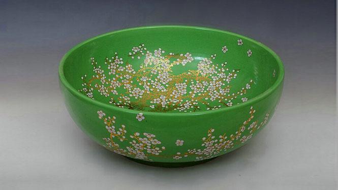 陶瓷罗汉型单孔洗手盆洗衣盆洗手间盆--青色梅花Y-41