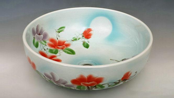 简约时尚韩式陶瓷艺术台盆 立式洗脸D-14