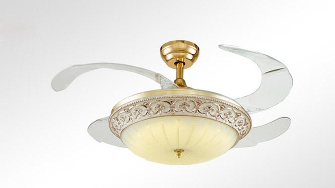 隐形扇 欧式奢华古典客厅餐厅隐形风扇灯吊扇灯吊灯配遥控KBS-Y4210