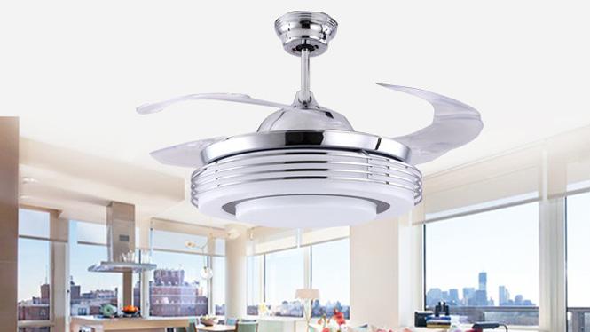 隐形扇吊扇灯餐厅客厅带LED电风扇卧室风扇吊灯现代风扇灯KBS-Y4208