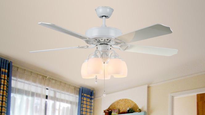木叶吊扇灯欧式电风扇灯客厅简约现代装饰豪华吊灯扇KBS-5204