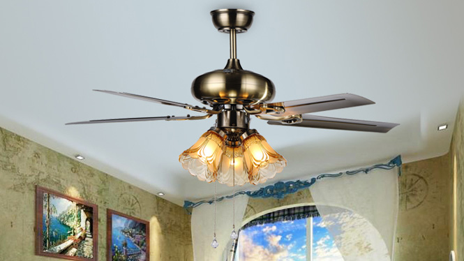 铁叶豪华欧式仿古吊扇灯 木叶风扇灯 现代家用灯客厅餐厅装饰KBS-4201