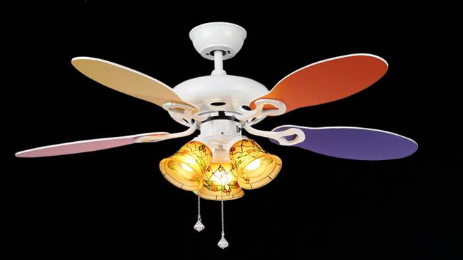 隐形扇家用装饰LED手拉绳调速儿童幼儿园小苹果可爱创意吊扇灯KBS-Y4206