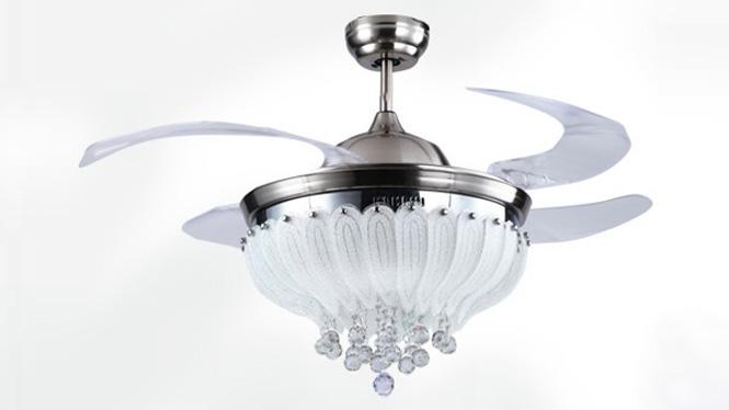 隐形扇现代奢华土豪金客厅餐厅隐形风扇灯吊扇灯吊灯配遥控KBS-Y4207