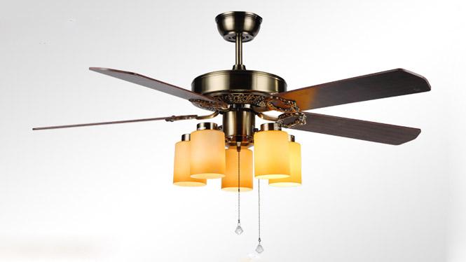 木叶欧式仿古豪华装饰正反转电扇灯咖啡厅木叶风扇灯KBS-5202