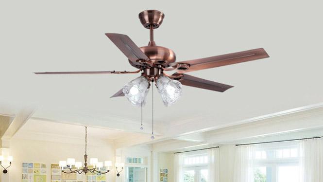 52寸法国金灯罩现代吊扇5叶配遥控LED21W风扇吊灯KBS-4802