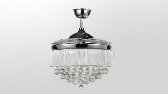 隐形扇铬色简约4叶配遥控72W水晶拉丝罩LED新款隐形吊扇灯KBS-Y4201