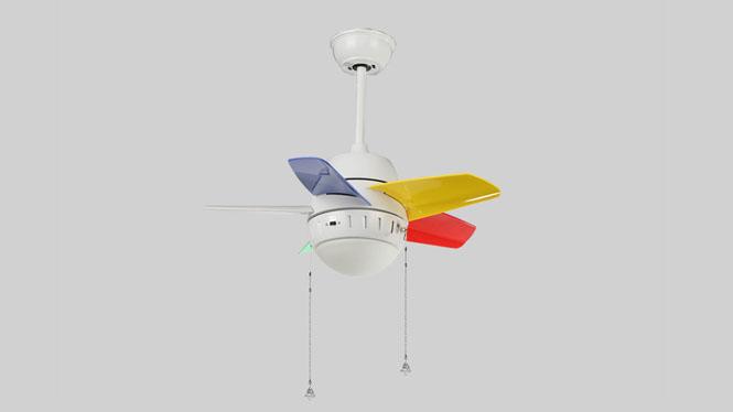 ABS塑料简约优质胶片带灯吊扇儿童风扇灯餐厅卧室装饰风扇灯小蜜蜂系列KBS-Y2601-BK