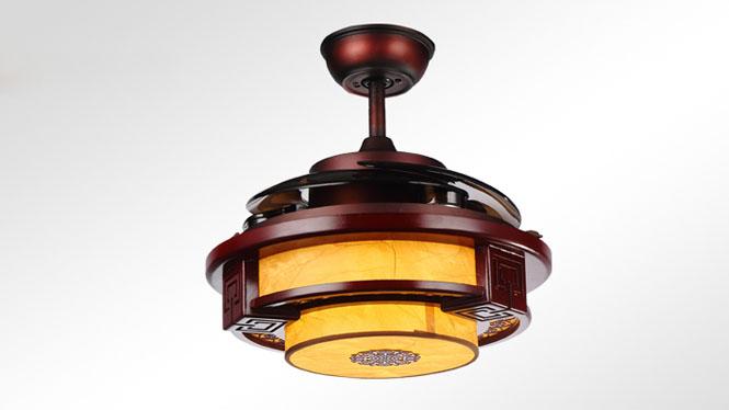 新款LED隐形中式风格30W双光遥控木艺羊皮吊风扇灯KBS-Y4202