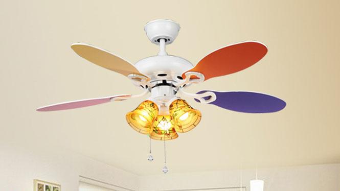 优质合板家用装饰LED手拉绳调速儿童幼儿园创意个性电风扇灯吊灯KBS-4202