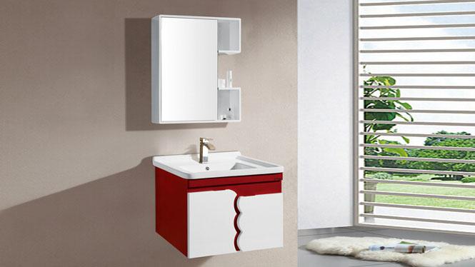 PVC浴室柜组合 洗手盆浴镜洗脸盆面盆挂墙式小户型卫浴柜7903 700mm