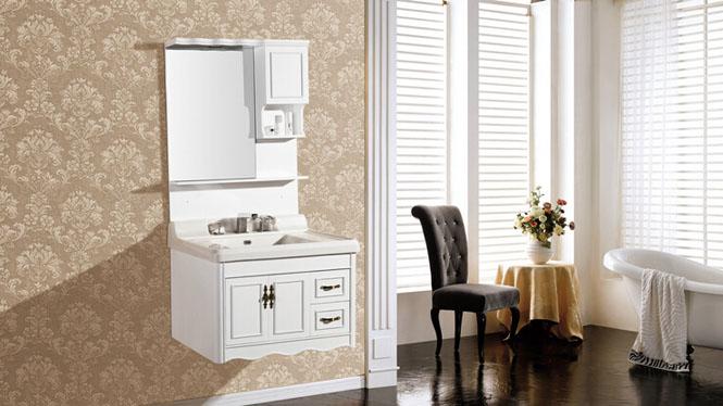 PVC浴室柜组合 洗手盆浴镜洗脸盆面盆挂墙式小户型卫浴柜8138 800mm