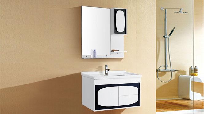 简约小户型挂墙式浴室柜 pvc卫浴柜组合吊柜陶瓷盆洗脸盆洗漱台8028 800mm