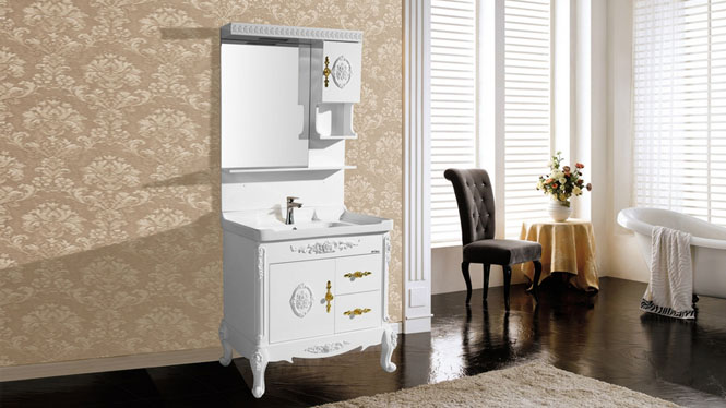浴室柜 高档一体PVC含抽拉式水龙头和下水落地卫浴柜8408 800mm