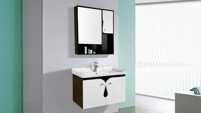简约浴室柜组合洗脸盆面盆梳洗柜卫浴柜PVC小户型挂墙式吊柜8020 800mm