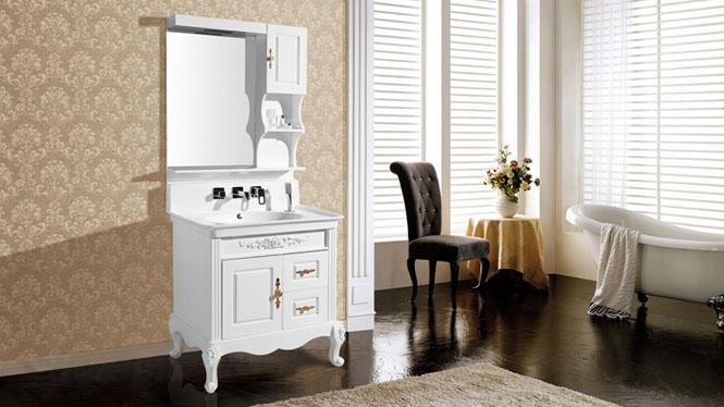 新款高档PVC一体玉石台盆含抽拉式水龙头落地浴室柜8268 825mm