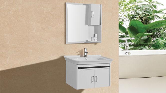 简约现代欧式卫生间PVC浴室柜组合吊柜子挂墙 洗漱台洗手脸盆8106 800mm