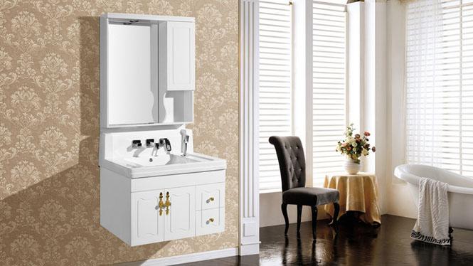 新款一体玉石高档含抽拉式水龙头卫生间洗脸盆浴室柜8148 800mm