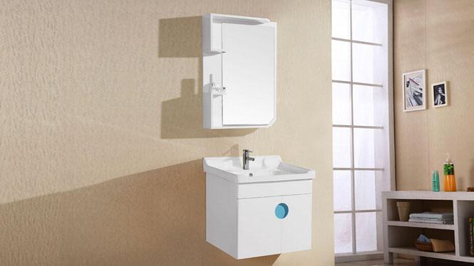 PVC浴室柜组合 洗手盆浴镜洗脸盆面盆挂墙式小户型卫浴柜6011 600mm
