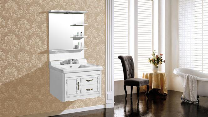PVC浴室柜洗脸盆洗手盆小卫生间洗漱台组合卫浴柜挂墙式吊柜8128 800mm