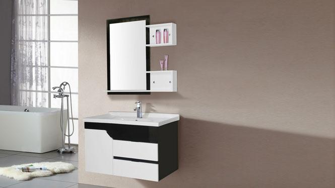 现代简约挂墙式卫浴吊柜卫生间洗脸盆 PVC浴室柜组合洗手盆洗漱台8096 800mm