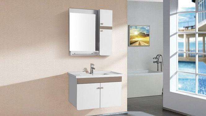 防水浴室柜PVC小户型组合 卫生间挂墙式 洗脸洗手盆吊柜镜柜组合8100 800mm