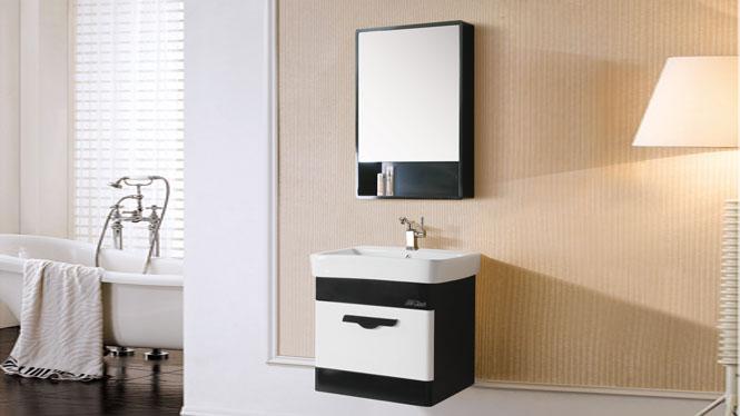 简约浴室柜组合橡木洗脸盆面盆梳洗柜卫浴柜PVC小户型挂墙式吊柜6058 600mm