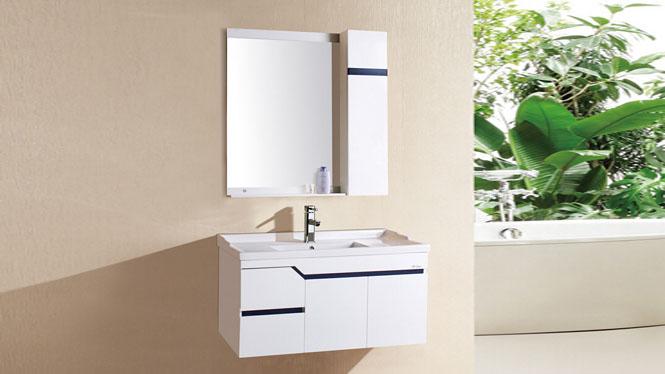 PVC浴室柜吊柜卫生间洗漱台组合洗脸盆洗手盆小卫浴柜挂墙式1018 1000mm