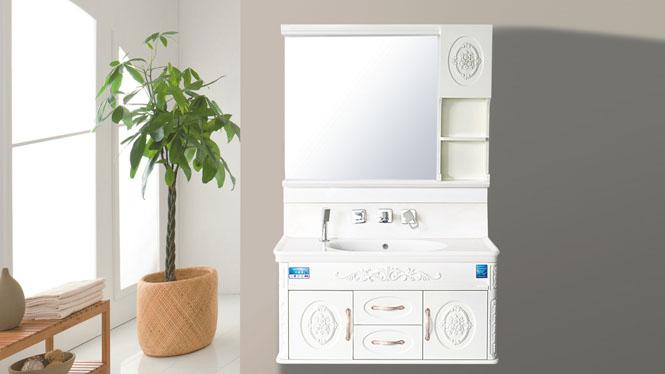 玉石浴室柜组合欧式卫浴柜玉石台面柜洗手洗脸吊柜包龙头800mm-1000mm HW-8805B