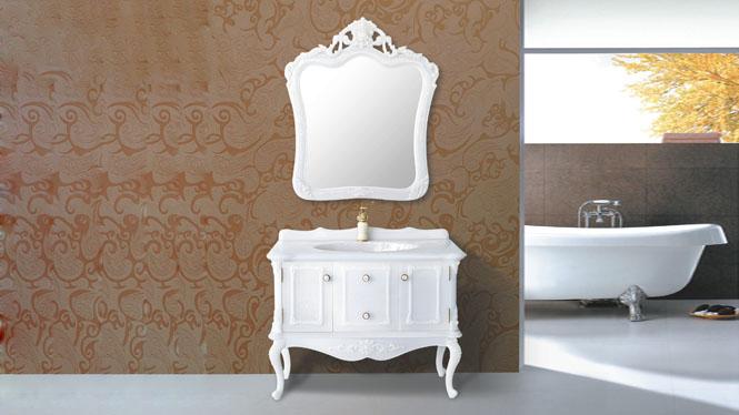 玉石浴室柜落地柜现代简约洗手盆 欧式卫浴柜玉石盆台面1000mm HW-6868