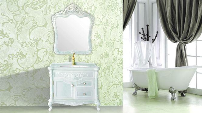 玉石浴室柜组合欧式卫浴柜玉石台面柜洗手洗脸台盆落地1000mm HW-8190