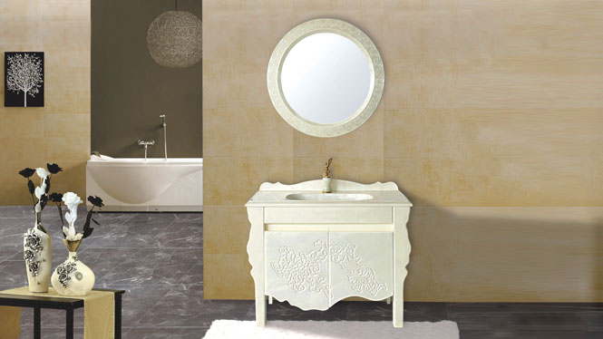现代简约欧式浴室柜玉石盆带洗脸洗手盆洗头玉石卫生间柜800mm-1000mmHW-8812