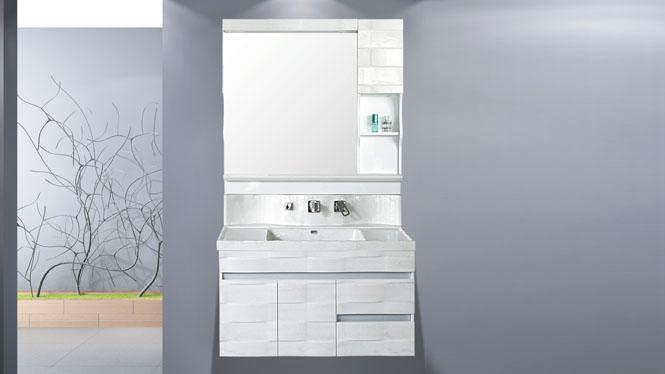欧玉石浴室柜组合 玉石洗手洗脸盆落地柜卫生间洗漱台盆包龙头1000mm HW-6873