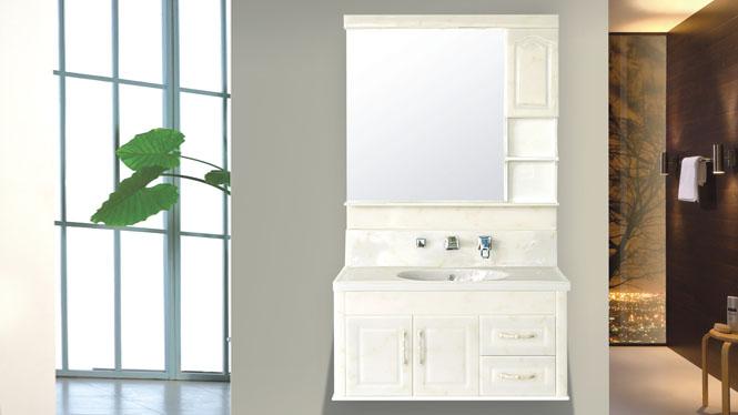 玉石浴室柜组合欧式卫浴柜玉石台面柜洗手洗脸吊柜包龙头可非标定制800mm-1000mm HW-8805B