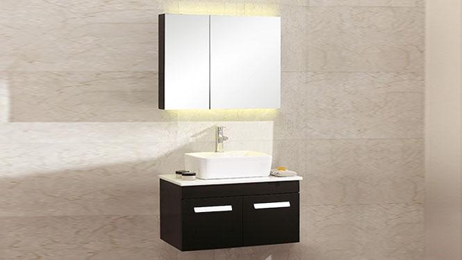 浴室柜组合现代简约实木卫生间卫浴柜洗脸盆挂墙式镜吊柜BG-7001 700mm600mm800mm900mm1000mm1100mm1200mm