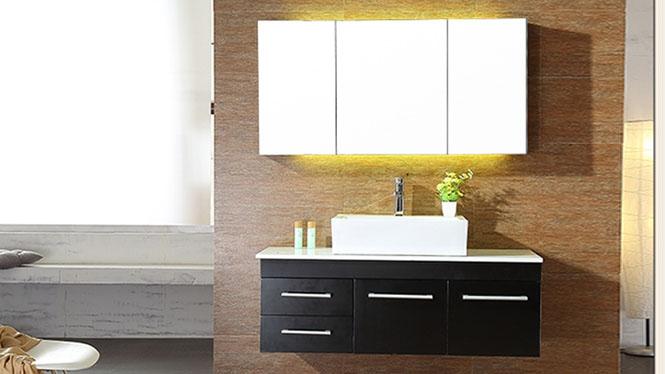 橡胶实木浴室柜组合简约现代镜柜卫生间洗脸盆柜卫浴柜吊柜BG-7003 1000mm800mm900mm1100mm1200mm