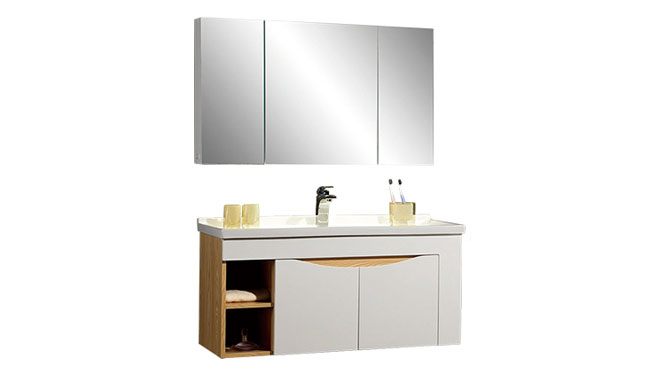 时尚卫浴镜柜现代简约实木橡木吊柜挂墙式浴室柜组合YP-602100-A 1000mm610mm800mm900mm