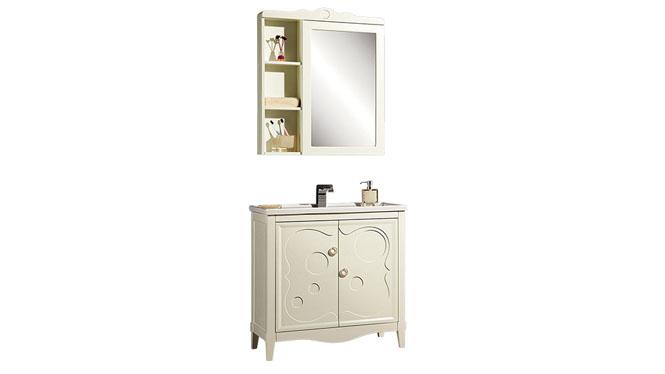 洗漱台洗脸盆柜实木卫浴柜镜柜简约欧式浴室柜组合YP-1508 800mm