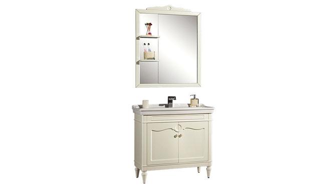 现代简约橡木实木浴室柜落地柜安装灰镜洗脸盆浴室柜组合YP-1506 900mm