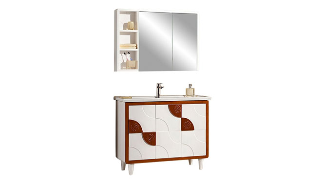 高端橡木实木浴室柜子组合 卫浴柜洗脸盆柜 洗手盆柜YP-8100-A 1100mm700mm900mm