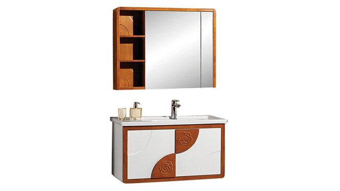 高端橡木实木浴室柜子组合 卫浴柜洗脸盆柜 洗手盆柜YP-8090-A 900mm700mm1100mm