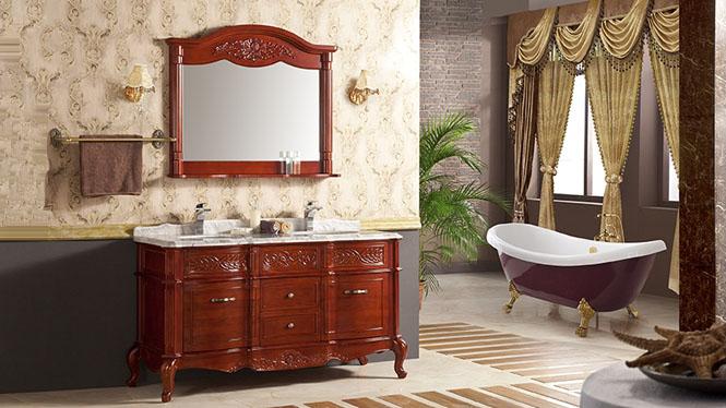 欧式豪华洗脸盆柜高档大气落地柜大理石台面浴室柜组合YP-814 1500mm