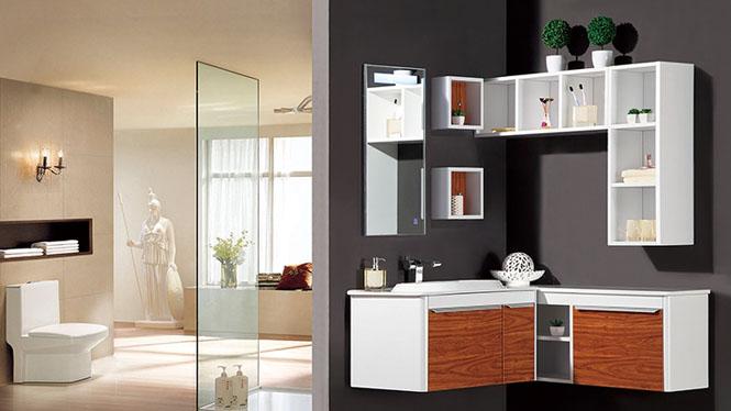 橡木挂墙式组合面盆柜镜柜卫浴柜洗手脸台盆YP-9080 800mm