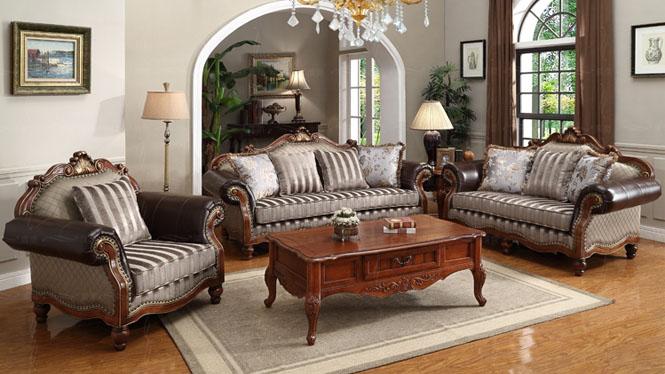 纯美式乡村布艺沙发组合 欧式提花皮布沙发雕花描金8101-2#