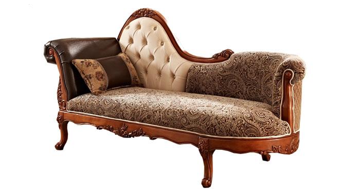 实木美式沙发贵妃椅布艺欧式躺椅真皮扶手贵妃榻697
