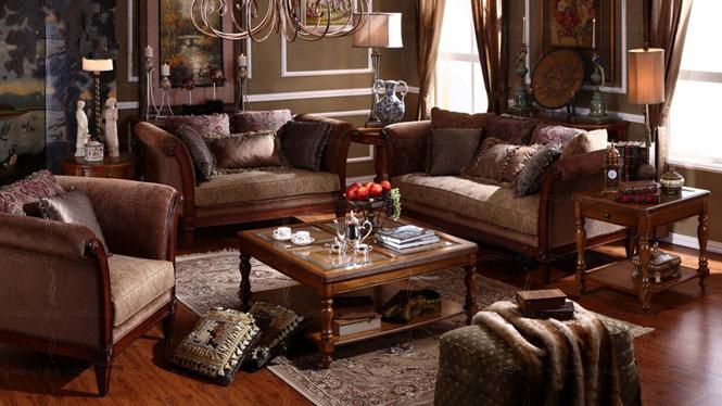 美式乡村布艺实木沙发组合 古典欧式客厅三人位沙发0832